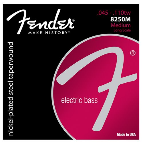 Fender 8250's Nickel Plated Taperwound Bass Guitar Strings, Medium, 4/5 strings Available dr k3 hi def neon green luminescent bass guitar strings light 40 100 or medium 45 105 or 5 strings 45 125
