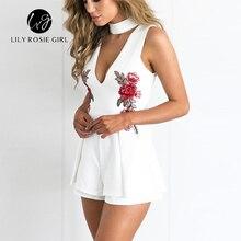 Elegant V Neck Rose Floral Embroidery Women Playsuits