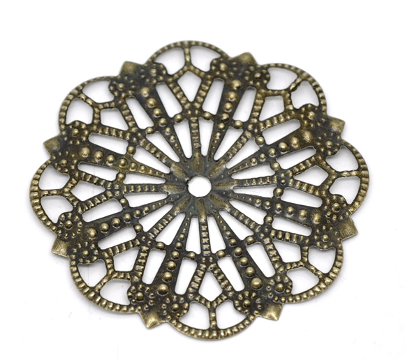 DoreenBeads Alloy Embellishments Findings Flower Antique Bronze Flower Hollow Pattern 4.1cm(1 5/8