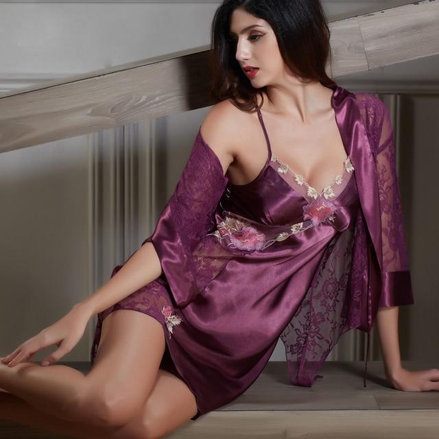 XIFENNI Brand Women Satin Silk Robe Sets Sexy Lace Embroidery Bathrobes Twinset Nightdress V-Neck Emulation Silk Sleepwear 6629