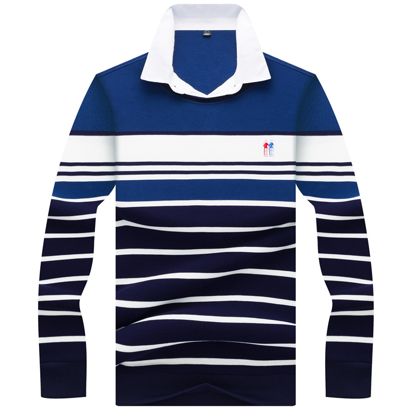 JUNGLE ZONE Men's brand High Quality Embroidery Polo Shirt men's Long sleeve polo shirt 2019 new Striped Polos 8815