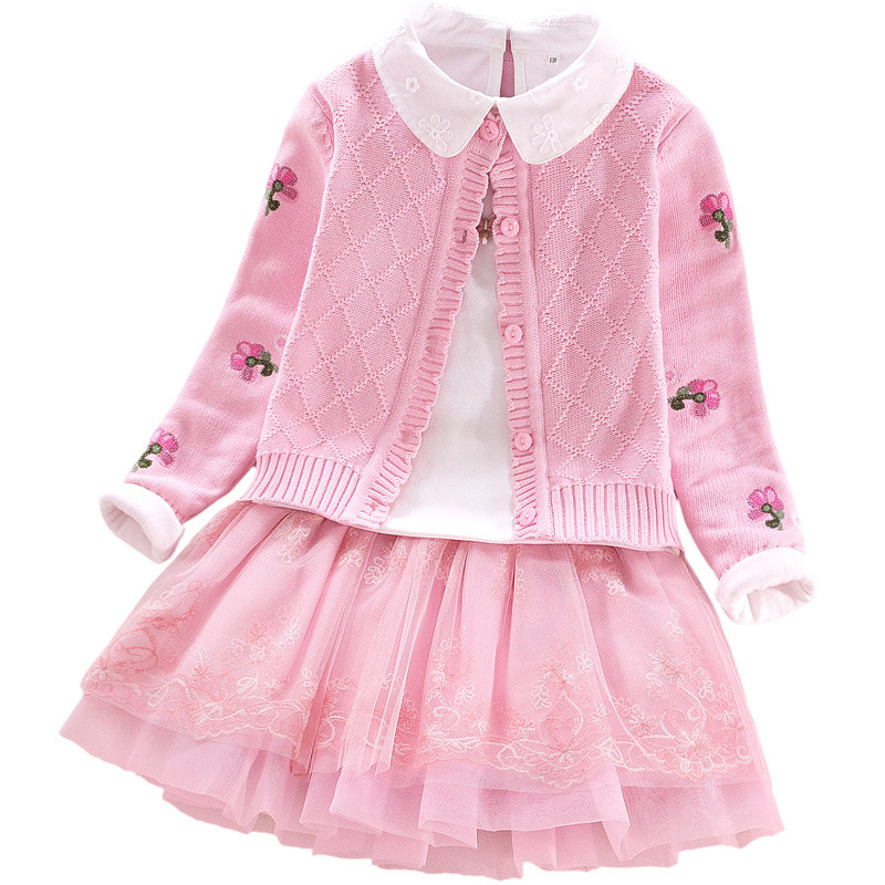 High Quality Girls Sweater Coat+Shirt+Skirt 3pcs Clothing Set Lace Flowers Kids Girls Cotton Clothes Suits For 8 10 12 14 Years girls stereo flowers tee with skirt