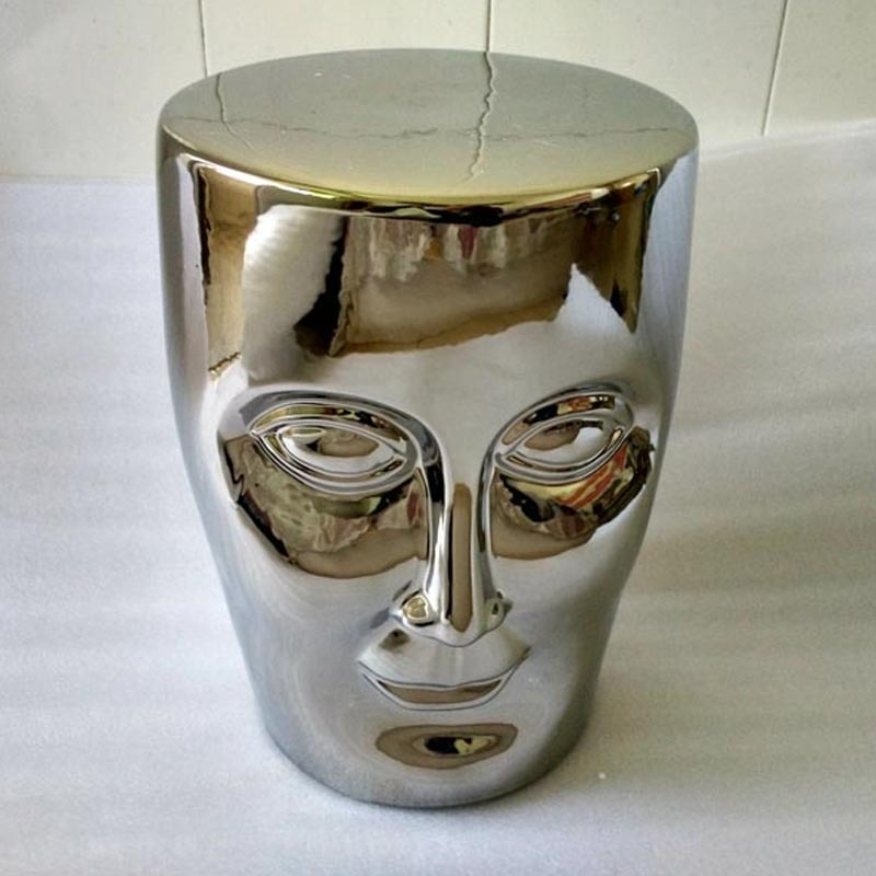 Bonze Stool Silver Ceramic Human Face Stool Living Room Decoration Leisure Chair Stool the silver chair