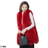 Faux fur vest new 2018 fashion fox fur coat grass vest female thick warm ladies fur jackets skirt plus size womans faux fur coat