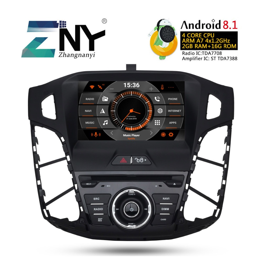 "8"" HD Android 8.1 Car GPS Stereo For 2011 2012 2013 2014 Focus Auto DVD Audio Video Radio FM WiFi Navigation Free Backup Camera"