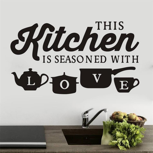 Kitchen Remodel Quotes: THIS KITCHEN IS SEASONED WITH LOVE Quotes Wall Stickers