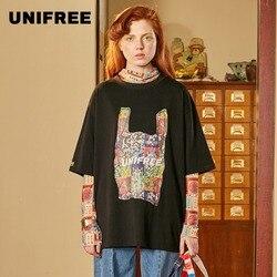 Camiseta UNIFREE 2019 nueva llegada de otoño para mujer camiseta retro creativa suelta casual de manga corta de algodón negro parte superior u192g305hr