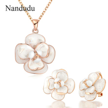 Nandudu Flower Pendant Necklace Earrings Jewelry Sets Fashion Women Girl Party Wedding Engagement Jewelry Gift CN255 E36