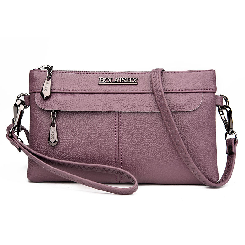 Women's Genuine Leather Handbags Small Cow Leather Clutches Bag Shoulder CrossBody Bags Fashion Soft Diamonds Flap Women Bags