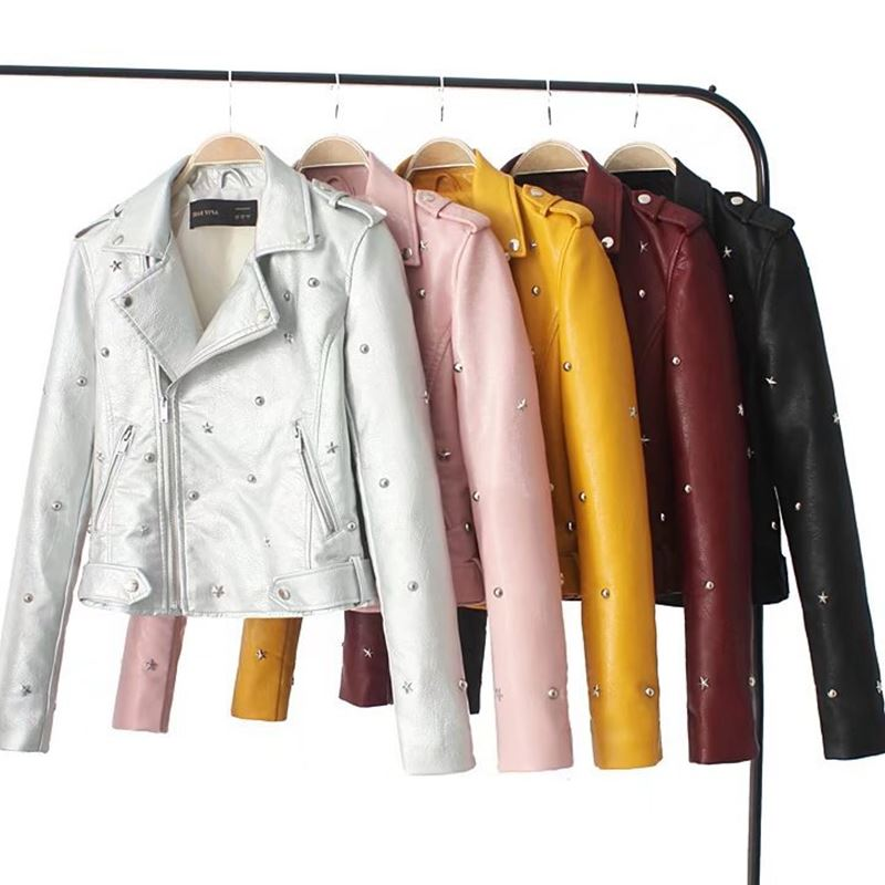 2019 New Design Women Fashion   Leather   Jacket Autumn With Rivet Female Motocycle Coat 5 Colors Available