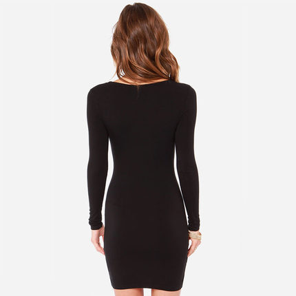 Club Bandage Dress 2017 Fashion Long Sleeve Black Slim