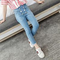 Girls Denim Casual Pants Summer New Fashion Double breasted Jeans Children Trousers Pencil Pants Modis Kids Clothes Jeans Y1413