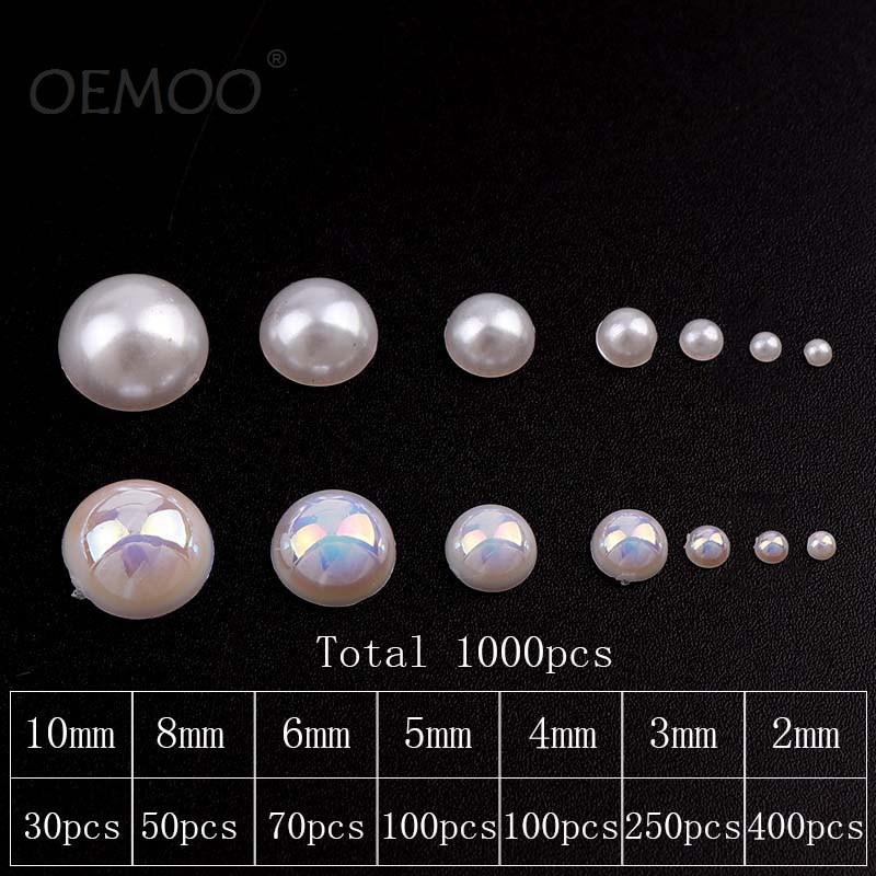 800 Pcs Cream Flatback Half Faux Pearls Beads DIY Crafts Nail Art