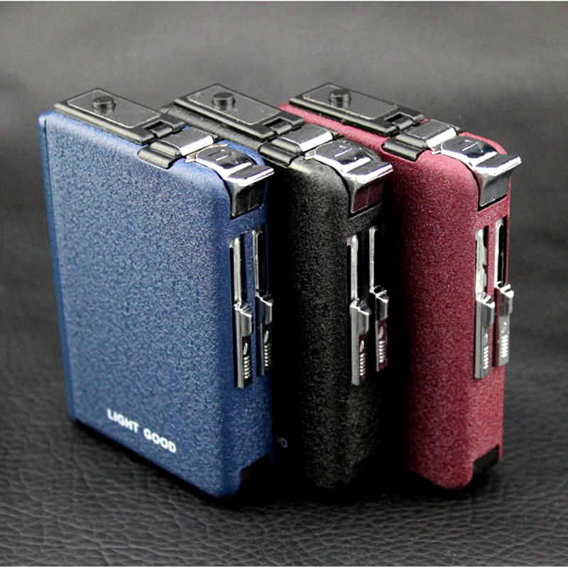 (10 Cigarette )Scrub Multifunction Cigarette Case Fashion Flameless Windproof Inflatable Gas Lighter Cigarette Box Men Gift