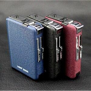 (10 Cigarette )Scrub Multifunction Cigarette Case Fashion Flameless Windproof Inflatable Gas Lighter Cigarette Box Men Gift(China)