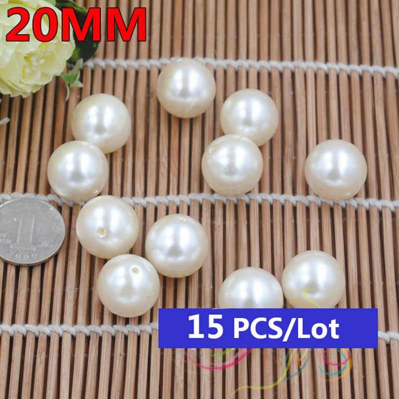 20-40mm DIy geschenke elfenbein Imitation runde große perle perlen für schmuck zubehör perlen & schmuck halskette armband machen material