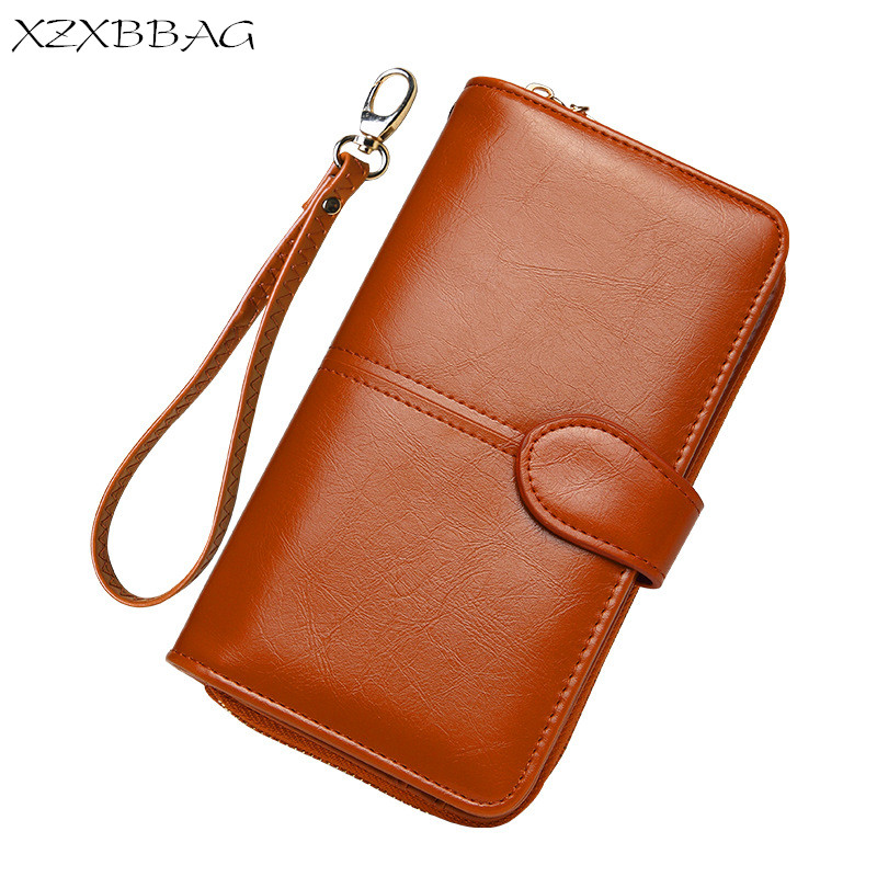 XZXBBAG Women Oil Wax PU Leather Long Wallets Female Vintage Card Package Coin Purse Girl Money Bag Clutch Big Capacity Handbag