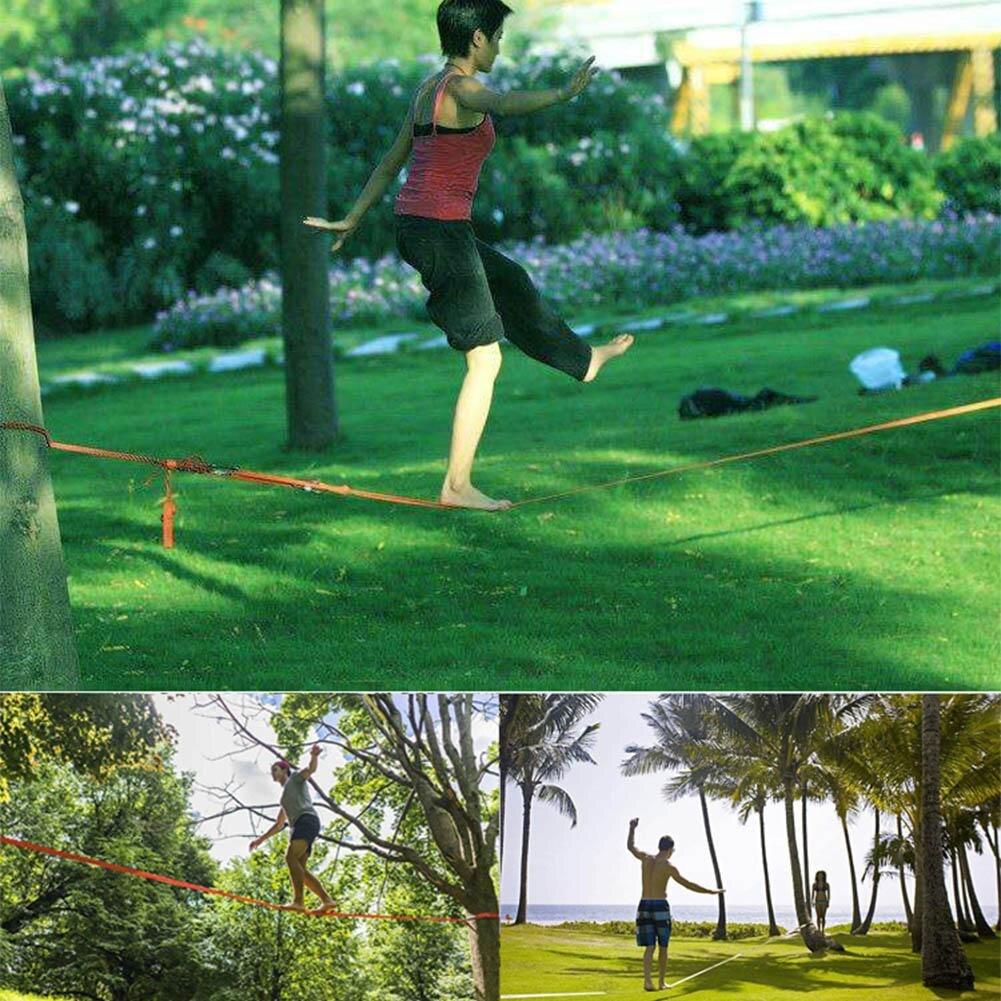 Slackline Kit 10*0.5 m équipement de Fitness en plein air ligne de Slack/tendeur à cliquet-améliorer les compétences d'équilibre et la force du noyau - 2