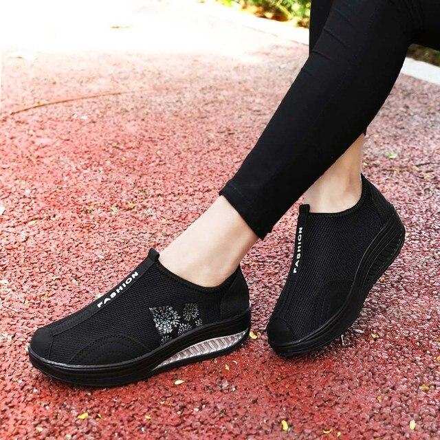 2019 New Sports Shoes Fashion Women Mesh Heightening Shoes Soft Bottom Rocking Shoes Walking Sneakers Dropshipping sportschoenen 4
