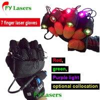 RGB Laser Handschuh für Bühnenshow Party Dekorationen DJ Club Zeigen Laser Handschuhe mit 7 stücke laser (2 stücke Violett + 3 stücke Rot + 2 stücke Grün)