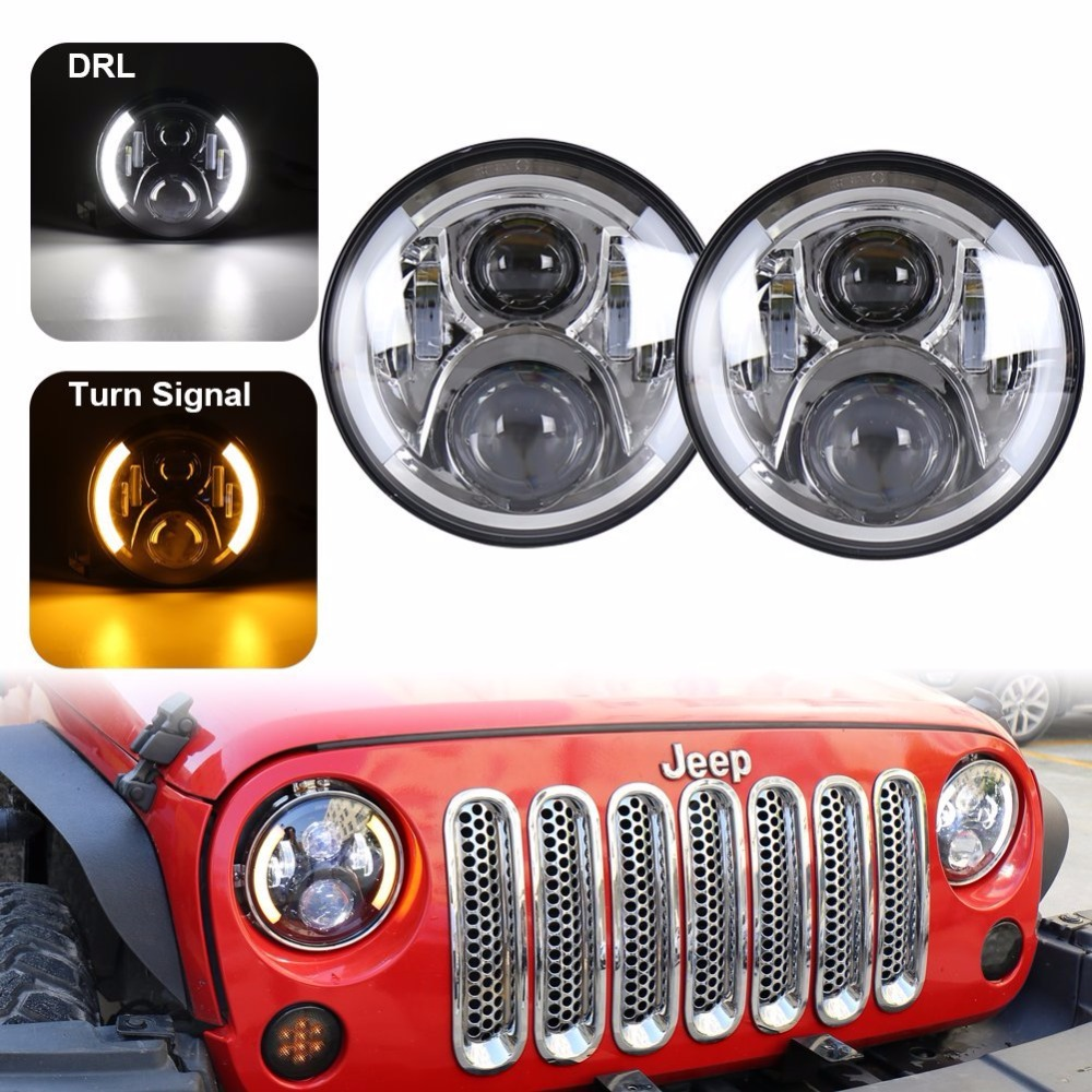 Pair 7 Inch Round Daymaker LED Headlights With White Halo Ring Angel Eyes /  Amber Turn Signal For Jeep Wrangler JK TJ pair 7 inch round high low led headlight with amber signal halo ring angle eyes with drl halo for 97 15 jeep wrangler jk tj