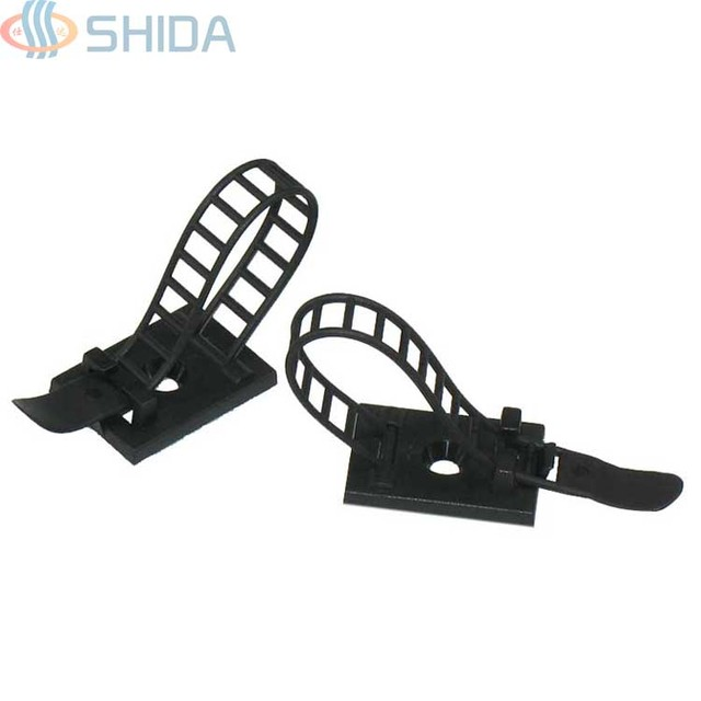 100pcs CL 2 Black adjustable cable clamp Adjustable Wire Clips Clamp ...