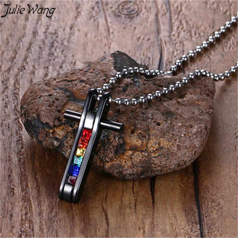 Julie Wang 1 pc czarny ze stali nierdzewnej krzyż kolorowe błyszczące Rhinestone zdobiona Rainbow wisiorek naszyjnik lgbt oświadczenie naszyjnik