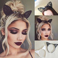 Cute Women Girls Black wire Bunny Costume Party Rabbit Hair Ear lace Bow Headband