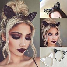Cute Women Girls Black wire Bunny Costume Party Rabbit Hair Ear lace Bow Headband