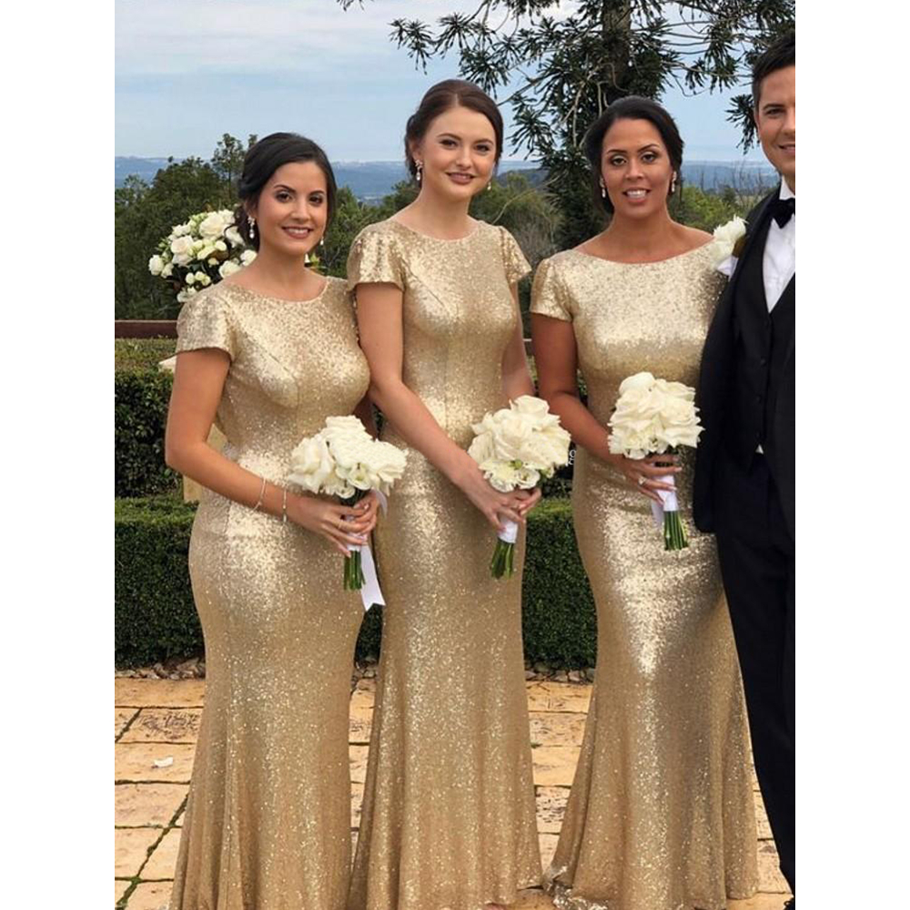 afc33038a46d Elegant Champagne Sequin Mermaid Bridesmaid Dresses With Short Sleeve Floor  Length Backless Cheap Long Wedding Party Dress