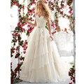 Moda de nova Querida Lace Bordados Vestidos de Casamento com Trem Da Varredura Robe De Mariage 2017 Plus Size A Linha de Vestidos de Noiva