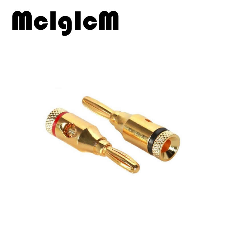 H006-02 8PCS Connector Banana Plug Copper 4mm Gold plated Musical Speaker Cable Wire Banana Plugs in Wire Connectors Banana 4mm hot 4pcs copper gold plated tuning fork banana y spade plug adapter av audio terminals connectors for speaker cable power