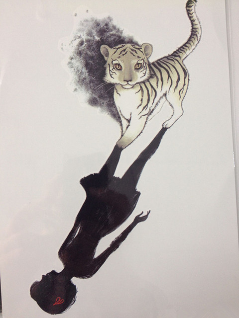 21 X 15 CM Girl With Small Tiger Tattoo Stickers Temporary Body Art Waterproof#74