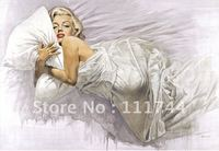 modern art portrait famous painting Marilyn Monroe everybodies dream High quality 100% hand painted