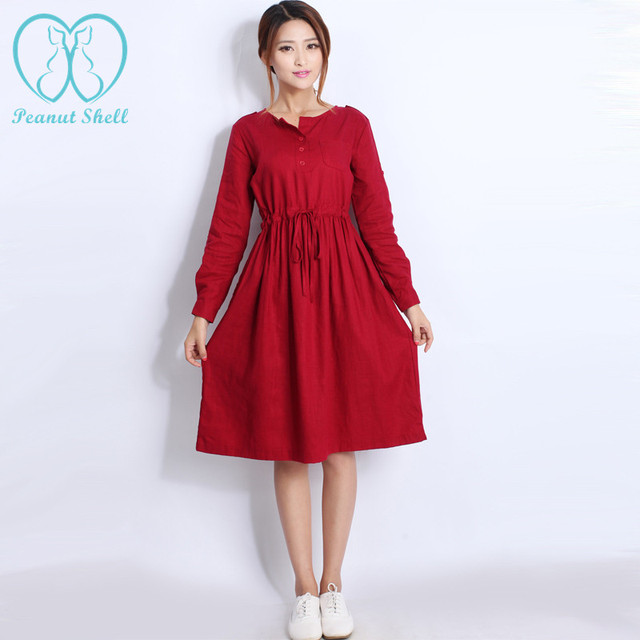 Aliexpress.com : Buy 8063# Quality Linen Maternity Dresses Autumn ...