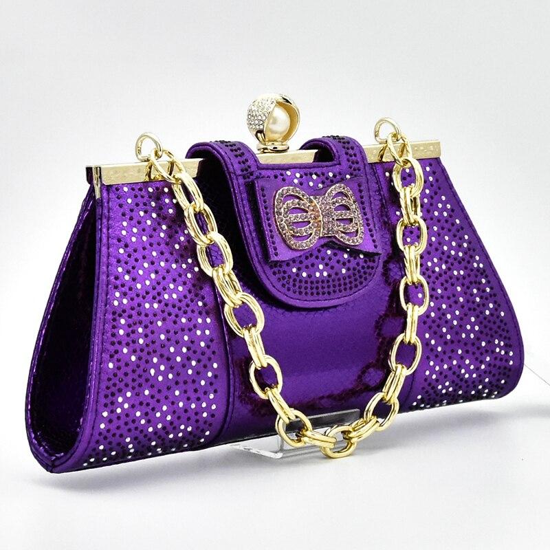Afrikanische fuchsia Und Schuhe Nigerian Neue Gold Frauen Party Ankunft Farbe sliver Lila purpurrot Tasche Hochzeit Italienische königliches Blau Set Schuh R4tqZ