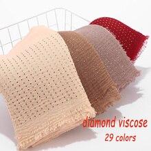Popüler kadın elmas düz viskon pamuk başörtüsü kırışıklık şal boncuk sarma bandı 180*90cm 10 adet/grup seçebilirsiniz renkler