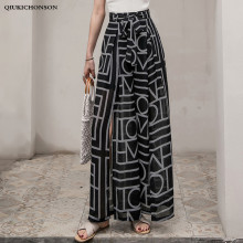 Women Summer Bowknot High Waist Wide Leg Pants Casual Loose High Slit Chiffon Pants Geometric Print Bohemian Beach Trousers