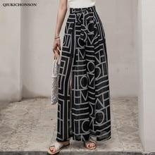 Women Summer Bowknot High Waist Wide Leg Pants Casual Loose Slit Chiffon Geometric Print Bohemian Beach Trousers