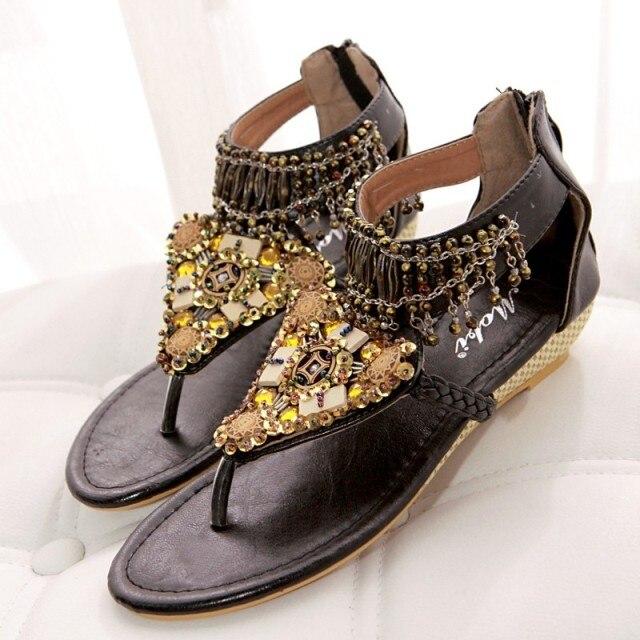 Flip Sandalias Coins Perles Perle Femme marron Cristal Pendentif Bohème Chaussures Plage Sandales Marque Flops D'été 2018 Femmes Noir wxOz8WUq