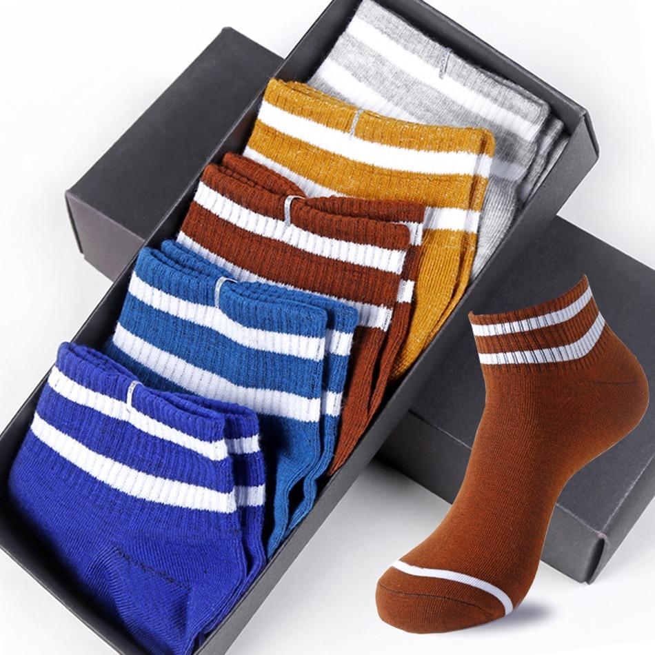 5 Pairs/lot Cotton Socks Men Harajuku Breathable Comfort Boat Invisible Low Cut Socks Four Seasons Short Socks