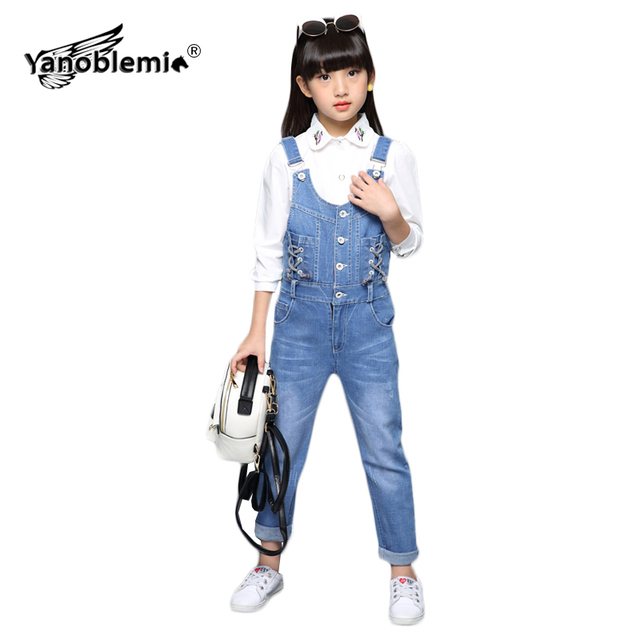 94fbf9edeb4 Girls Overalls Cotton Button Drawstring Denim Jumpsuit Teens Solid Straight Jumpsuits  Jeans Baby Girls Bib Pants