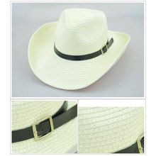 Straw Braid Men Cowboy Hats with Buckle Western American Mens Hat Solid Khaki