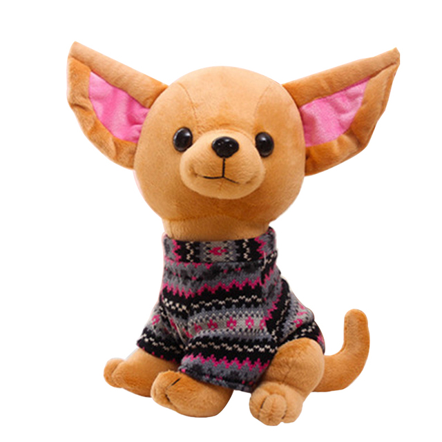 25cm Cute Chihuahua dog With Clothes Plush Toy Puppy Kids