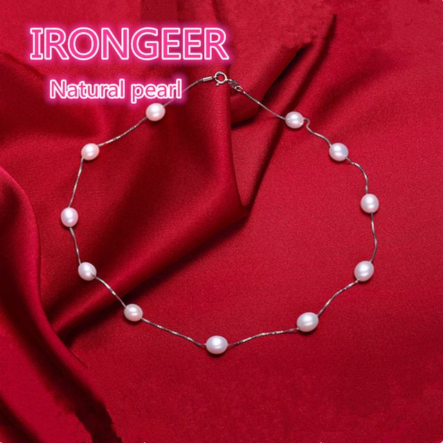 Genuine Fashion Brand S925 sterling silver Natural Pearl Choker Necklace for women Necklace silver chain best gift Free shipping