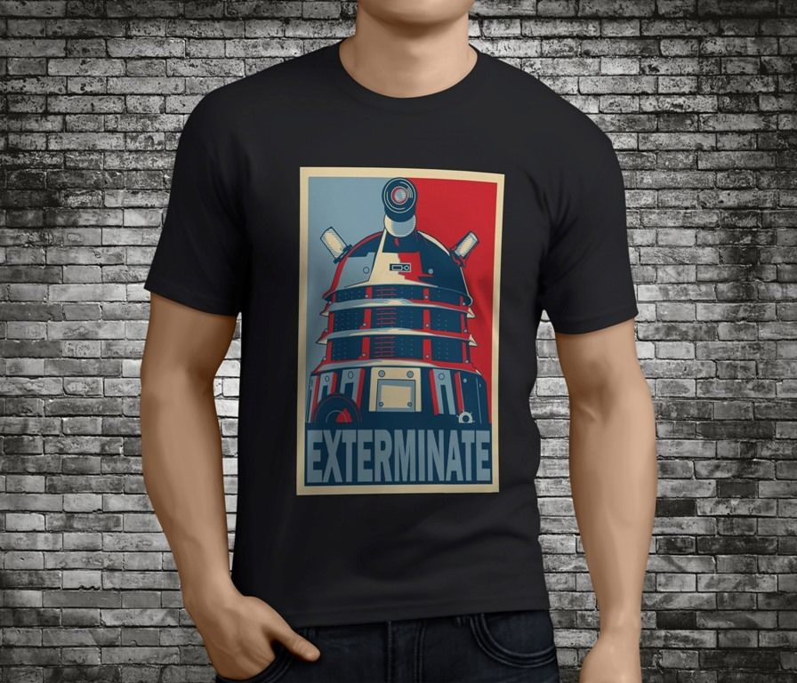 Summer Sleeves Casual O-Neck Short Doctor Who Exterminate Dalek Black Cotton Shirts For Men