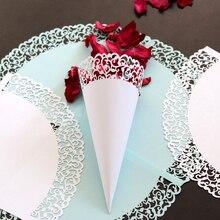50 sztuk/paczka koronki papierowe kwiaty płatek szyszki cukierki uchwyt ślub papier konfetti puchar DIY kubki Party dekoracyjne akcesoria