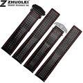 20 mm 22 mm grado superior negro costuras de color rojo negro tejido de fibra de carbono con genuino forro de cuero correas de reloj brazaletes correa