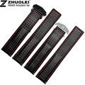 20mm 22mm Top Grade Black Red Stitching Black Carbon Fiber Fabric With Genuine Leather Lining Watch Bands Strap Bracelets
