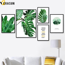 Tropical Green Plant Banana Monstera Leaf Wall Art Canvas Painting Nordic Posters And Prints Pictures For Living Room Decor